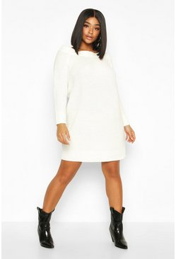 Cream Plus Knitted Off The Shoulder Jumper Dress