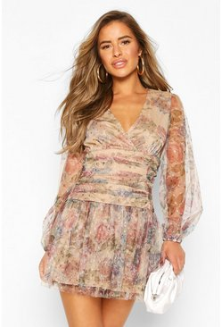 Stone Petite Floral Dobby Mesh Long Sleeve dress