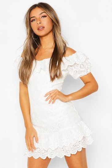 White Petite Broderie Ruffle Hem Puff Sleeve Dress