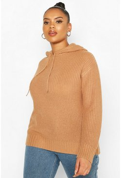 Toffee Plus Knitted Oversized Hoodie