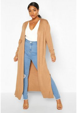 Camel Plus Fine Knit Long Line Cardigan