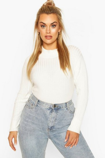 Cream Plus Fine Soft Knit Long Sleeve Jumper