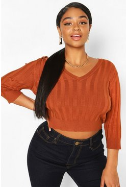 Chocolate Plus V Neck Soft Knitted Sweater