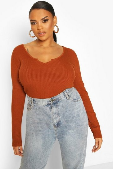 Chocolate Plus Notch Neck Long Sleeve Knit Top