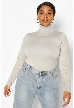 Grey Plus Roll Neck Fitted Sweater