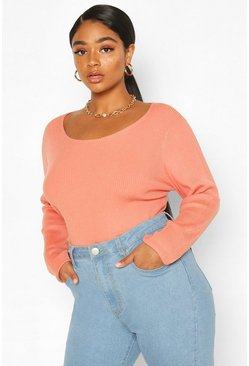 Peach Plus Crew Neck Knitted Long Sleeve Sweater