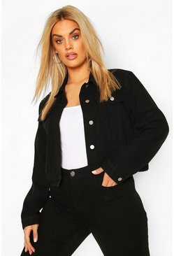 Chaqueta corta en denim Plus, Negro