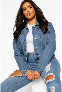 Mid wash Plus Cropped Denim Jacket