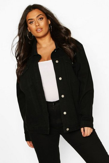 Black Plus Oversized Denim Jacket