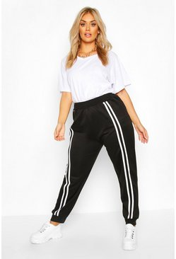 Black Plus Front Double Stripe Jogger