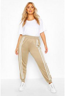 Khaki Plus Front Double Stripe Jogger