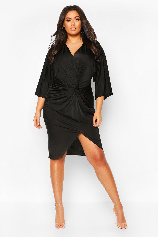 70s Dresses – Disco Dress, Hippie Dress, Wrap Dress Womens Plus Twist Front Kimono Sleeve Plunge Midi Dress - black - 16 $26.00 AT vintagedancer.com