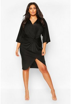 Black Plus Twist Front Kimono Sleeve Plunge Midi Dress