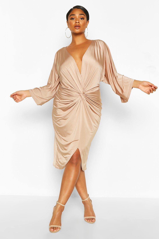 70s Dresses – Disco Dress, Hippie Dress, Wrap Dress Womens Plus Twist Front Kimono Sleeve Plunge Midi Dress - beige - 16 $26.00 AT vintagedancer.com