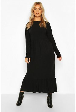 Black Plus Soft Rib Ruffle Tiered Midi Dress