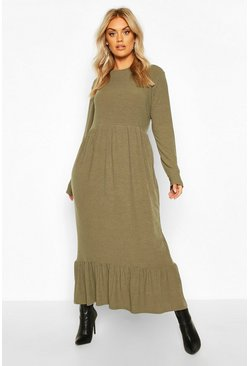 Khaki Plus Soft Rib Ruffle Tiered Midi Dress