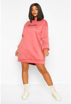 Rose Plus Feelings Oversized Hooded Sweat Dress