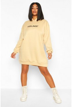 Plus Oversized Sweatkleid mit Kapuze und Feelings-Motiv, Steingrau