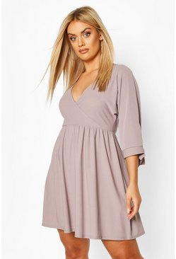 Grey Plus Tie Sleeve Wrap Smock Dress