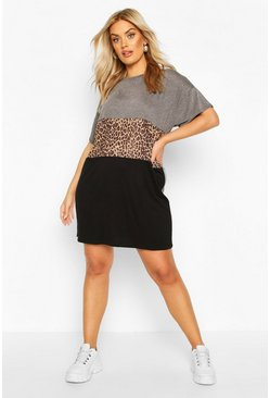 Charcoal Plus Leopard Contrast Panel T-Shirt Dress