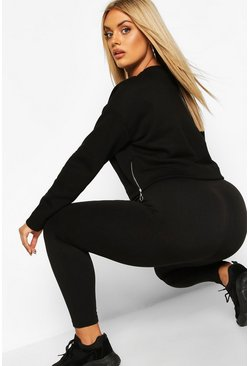 Womens Black Plus Thermal Leggings