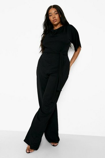 Black Plus Cowl Neck Belted Wide Leg Jumpsuit