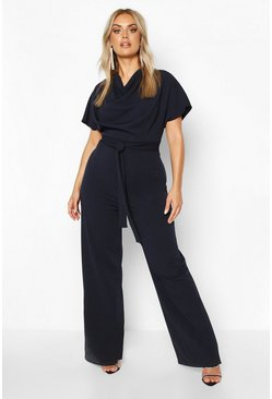 Navy Plus Cowl Neck Belted Wide Leg Jumpsuit