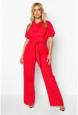 Womens Red Plus Cowl Neck Belted Wide Leg Jumpsuit