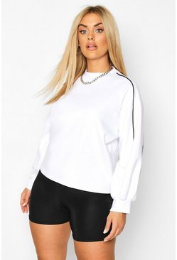 White Plus Piping Detail Sweatshirt