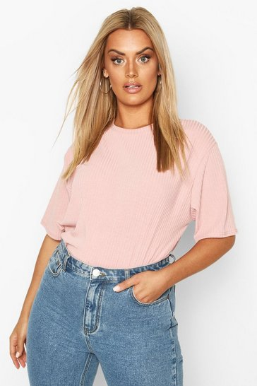 Pink Plus Soft Rib Oversized T-Shirt