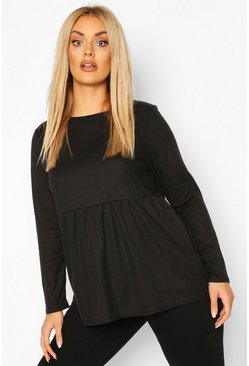 Black Plus Super Soft Rib Longsleeve Smock Top