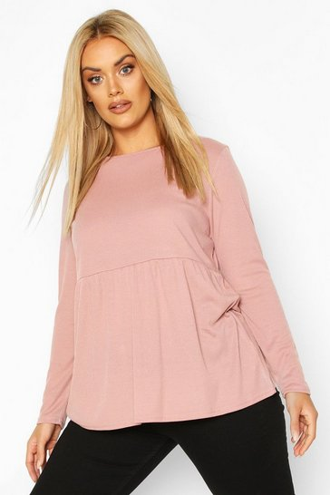 Blush Plus Super Soft Rib Longsleeve Smock Top