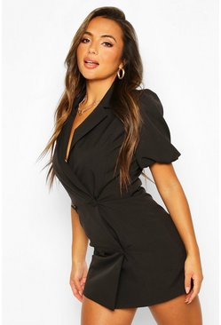 Black Petite Puff Sleeve Blazer Dress