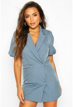 Blue Petite Puff Sleeve Blazer Dress