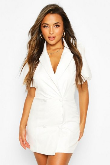 White Petite Puff Sleeve Blazer Dress