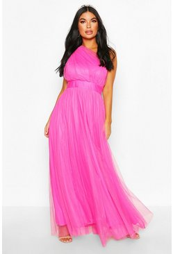 Magenta Petite Premium Chiffon One Shoulder Maxi Dress