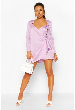 Lilac Petite Polka Dot Tie Detail Wrap Dress