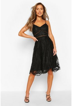 Black Petite Premium Lace Midi Dress