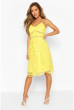 Yellow Petite Premium Lace Midi Dress
