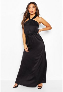 Black Petite Satin Halterneck Maxi Dress