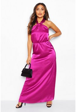Purple Petite Satin Halterneck Maxi Dress