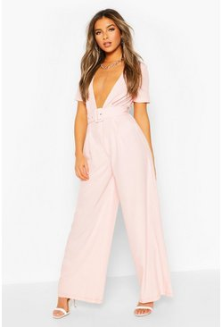 Blush Petite Tailored Self Belt Wide Leg Jumpsuit