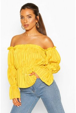 Mustard Petite Satin Stripe Volume Sleeve Bardot Top