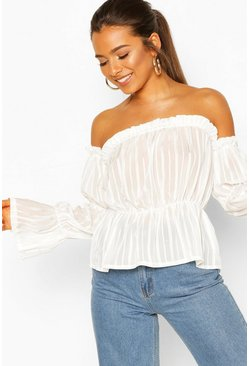 White Petite Satin Stripe Volume Sleeve Bardot Top