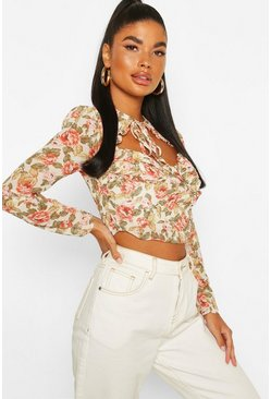 Ivory Petite Floral Long Sleeve Tie Front Detail Top