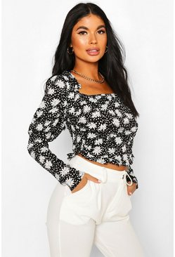 Black Petite Daisy Print Ruched Top
