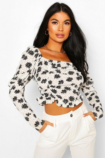 White Petite Daisy Print Ruched Top