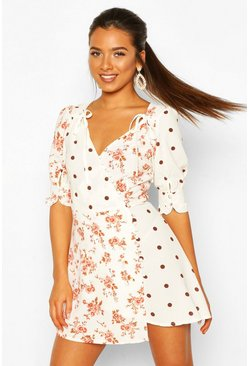 Ivory Petite Contrast Print Button Detail Tea Dress