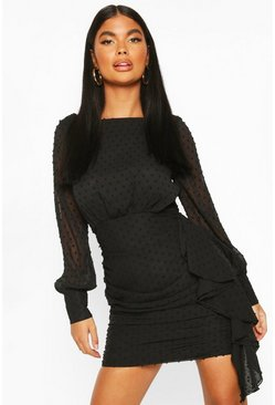 Black Petite Polka Dot Ruched Shirt Dress