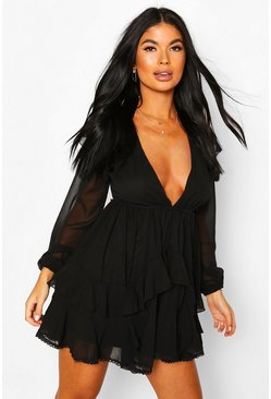 Black Petite Chiffon Tiered Skirt Skater Dress
